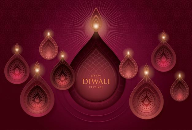 Festival di diwali con lampada a olio diwali, arte di carta