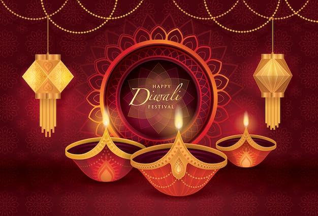 Festival di diwali con lampada a olio diwali