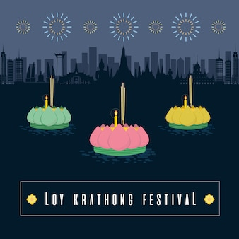 Festival di loy khathong in tailandia
