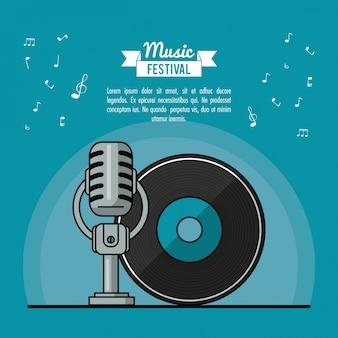 Festival di musica poster con dischi e microfono in vinile lp