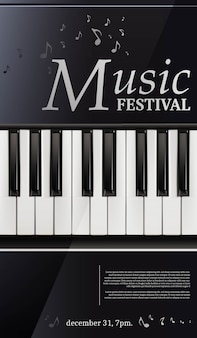 Festival di musica poster pianoforte con tastiera in bianco e nero.