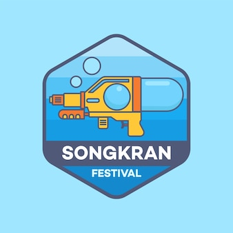Festival di songkran di logo in linea illustrazione minima di vettore di stile della tailandia