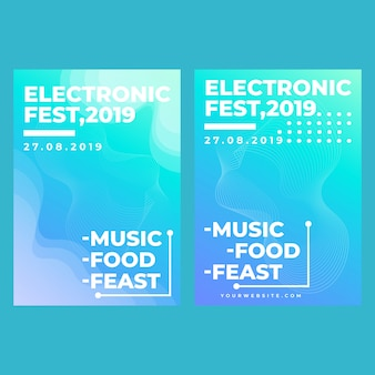 Festival elettronico di banner web quadrati moderni per applicazioni mobili di social media