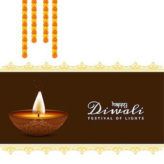 Festival felice astratto di diwali con la ghirlanda