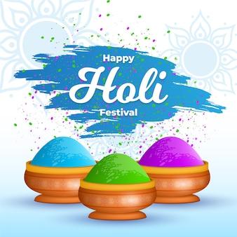 Festival holi realistico con gulal colorato