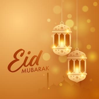 Festival islamico eid-al-fitr mubarak concetto con pendenti lanterne arabe dorate, silhouette moschea