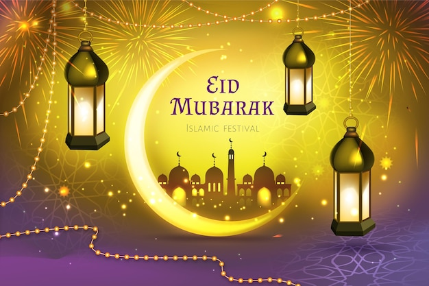 Festival islamico eid mubarak realistico