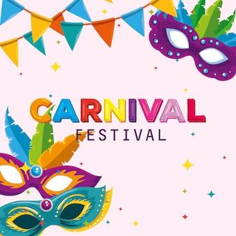 Festival maks con decorazione di piume e banner per feste