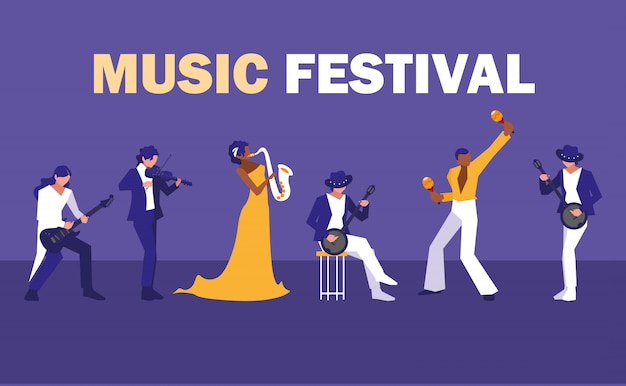 Festival musicale con un gruppo di artisti