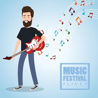 Festival musicale dal vivo con l'uomo che suona la chitarra elettrica