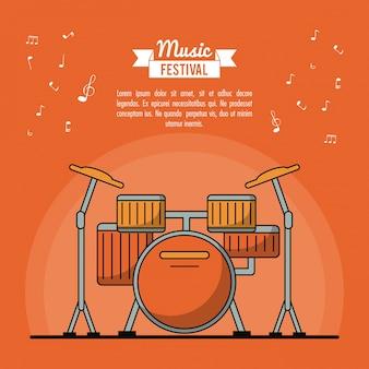 Festival musicale di poster con strumento di batteria