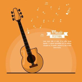 Festival musicale di poster in sfondo arancione con chitarra acustica