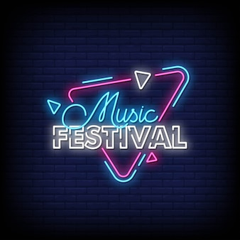 Festival musicale music neons style text