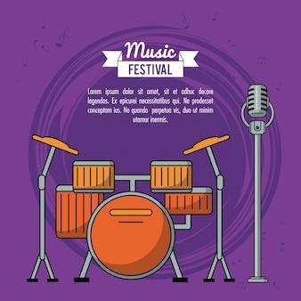 Festival musicale poster con batteria e microfono