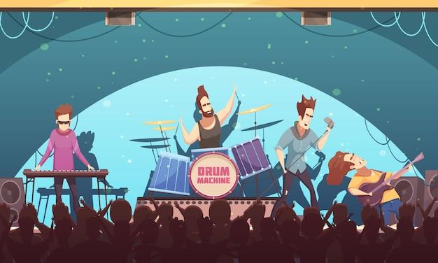 Festival open air rockband musica dal vivo sul palco spettacolo retrò cartoon banner con strumenti elettronici e pubblico