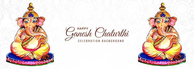 Festival religioso indiano ganesh chaturthi banner background
