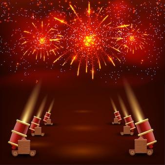 Festival sfondo rosso. sfondo rosso festivo con pistole di tiro e coriandoli dai colori vivaci. illustrazione vettoriale