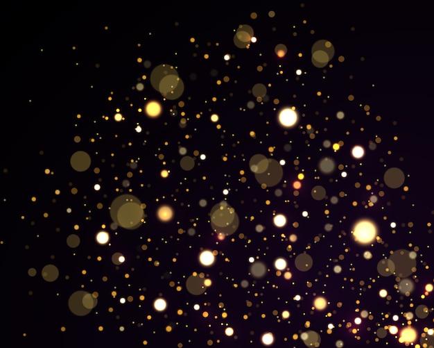 Festivo dorato luminoso con luci colorate bokeh