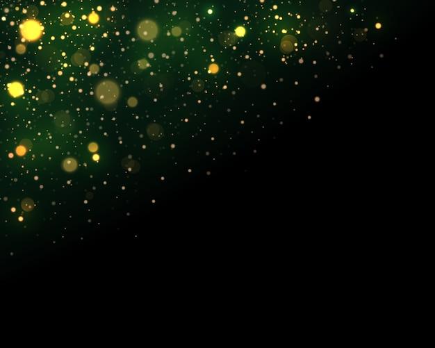 Festivo verde e dorato luminoso con luci colorate bokeh.