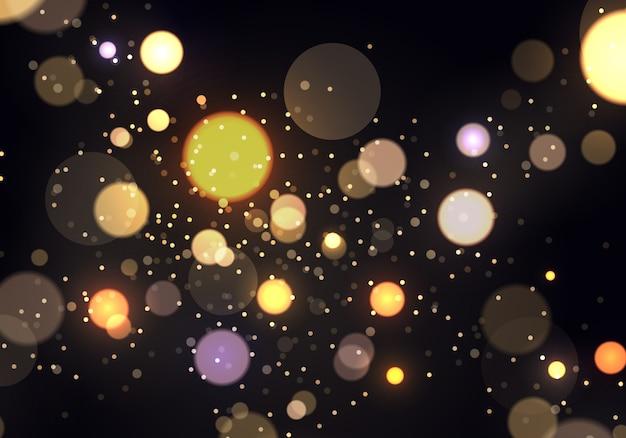 Festivo viola e dorato luminoso con luci colorate bokeh.