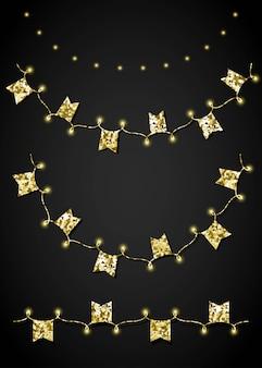Festone dorato glitterato per la decorazione di eventi di gala