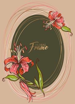 Festosa cornice ovale elegante con fiore di giglio.
