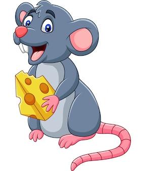 Fetta della holding del mouse del fumetto di formaggio