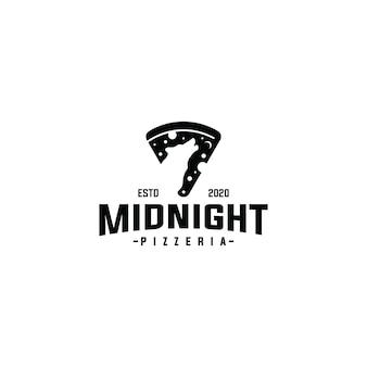 Fetta di logo della pizza con il modello di vettore di disegno del lupo di mezzanotte