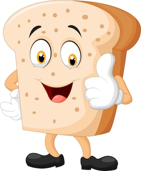 Fetta di pane del fumetto che dà i pollici su