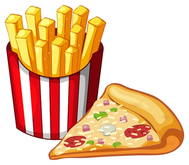 Fetta di pizza e sacchetto di patatine fritte