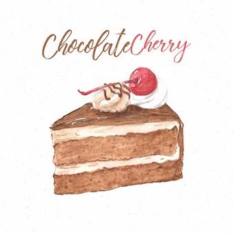 Fetta di torta al cioccolato e ciliegia