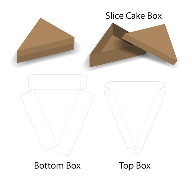 Fetta torta o mockup scatola di panino con dieline