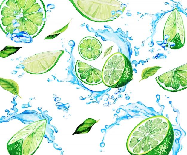 Fette e foglie di lime dell'acquerello tra gli spruzzi d'acqua