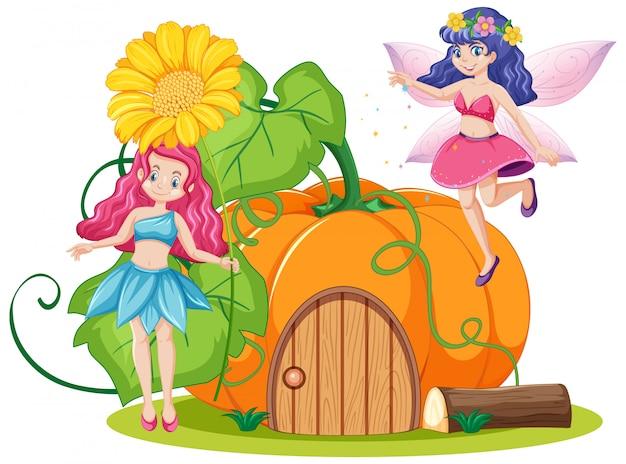 Fiabe e casa di zucca in stile cartone animato su sfondo bianco