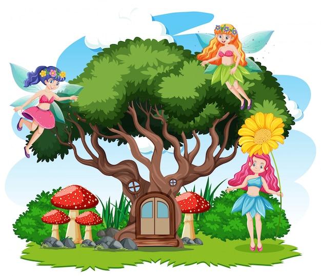 Fiabe e casa sull'albero in stile cartone animato su sfondo bianco