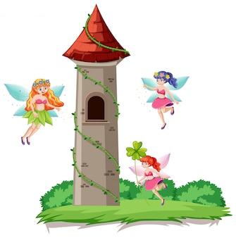 Fiabe e castello torre stile cartoon su sfondo bianco