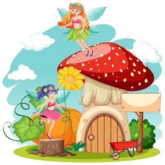 Fiabe e funghi in stile cartone animato su sfondo bianco