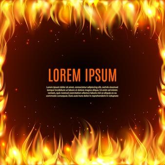 Fiamma bruciante del fuoco sui precedenti neri