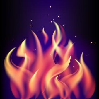 Fiamma bruciante rossa del fuoco su fondo porpora nero
