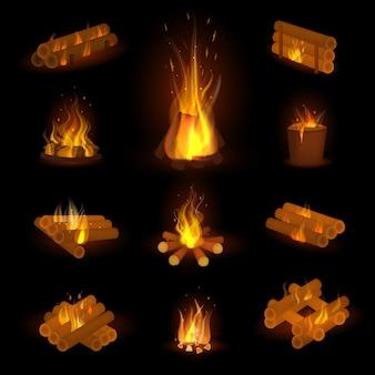 Fiamma di fuoco o legna da ardere vettore sparato falò fiammeggiante nel camino e fuoco infiammabile illustrazione infuocata o fiammeggiante set con incendio isolato su spazio trasparente