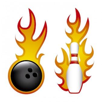 Fiamme bowling su sfondo bianco illustrazione vettoriale
