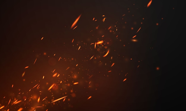 Fiamme del fuoco fondo astratto realistico delle scintille roventi ardenti