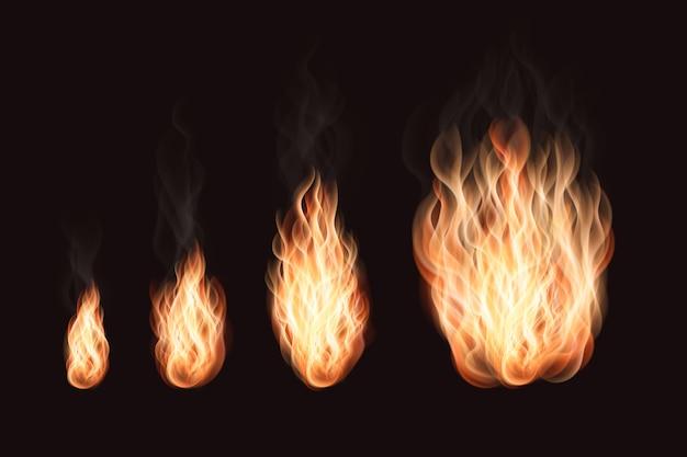 Fiamme di fuoco impostate con varie dimensioni realistiche