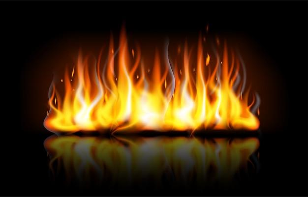 Fiamme di fuoco modificabili realistiche con la riflessione isolata su priorità bassa nera. speciale effetto luce accesa con scintille per il design e la decorazione. illustrazione di sfondo falò