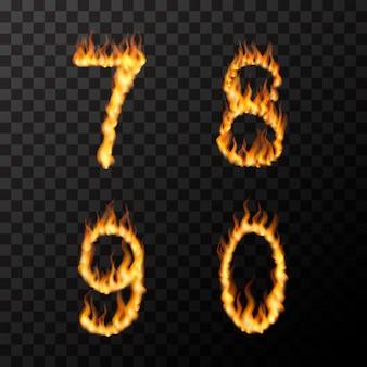Fiamme di fuoco realistiche luminose a forma di lettere 7 8 9 0, concetto di carattere caldo su trasparente