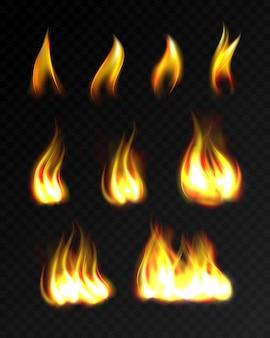 Fiamme di fuoco realistico set