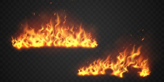 Fiamme di fuoco scintille roventi ardenti realistiche