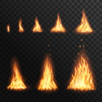 Fiammeggiando le fasi del fuoco, bruciando l'effetto fiammeggiante del fuoco per l'animazione. fiamma realistica della torcia 3d, bagliore arancione e giallo falò brillanti elementi bagliore su sfondo trasparente