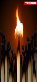 Fiammiferi di legno realistici con fiamma
