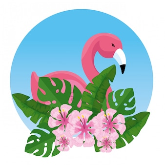 Fiammingo tropicale con fiori e foglie esotici